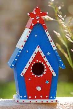 4th of July Birdhouse by 3HootStudio on Etsy