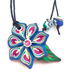 Blue Flower Necklace  Polymer Clay Millefiori Cane by KatersAcres clay jewelleri, blue flowers, millefiori cane, clay bead, clay flower, polym clay, flower necklac, clay time, clay millefiori