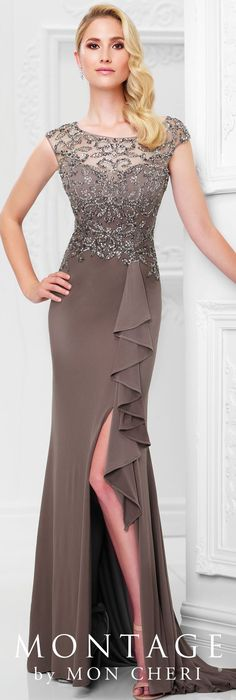 Formal Evening Gowns by Mon Cheri - Spring 2017 - Style No. 117911- mocha evening dress with beaded bodice and side slit