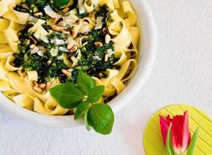 Tagiatelle z zielonym pesto Penne, Pasta Salad, Risotto, Ethnic Recipes, Dinners, Food, Crab Pasta Salad, Dinner Parties, Suppers