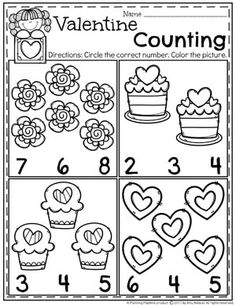 Valentine Counting Worksheets for Preschool - Kinder Preschool Printables, Preschool Kindergarten, Preschool Learning, Kindergarten Worksheets, Preschool Activities, Vocabulary Activities, Printable Worksheets, Free Printables, Valentines Day Activities