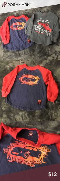 Set of 2 boys size 2T long sleeve shirts EUC set of two toddler boys size 2T long sleeve shirts. Navy and red Vroom sports car shirt by Carter's. And grey waffle Little Tough Guy pictures a monster truck by Jumping Beans. Both 2T and both 100% cotton. Shirts & Tops Tees - Long Sleeve