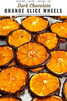 Dark Chocolate Orange Slice Wheels are an elegant treat with decadence in every bite. So easy, healthy and delicious tangy-sweet treat! Yummy Snacks, Healthy Desserts, Snack Recipes, Dessert Recipes, Healthy Recipes, Healthy Snacks To Make, Dinner Healthy, Vegetarian Recipes, Dried Orange Slices