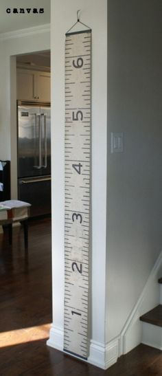 "Growth Chart idea...paint this idea on a canvas strip using same method as painting a ""Floor Cloth""  (i'm sure there are tons of directons on the web for Floor Cloths"""