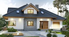Проект коттеджа 229 кв. м / Артикул бром-91 фасад Bungalow, Facade, House Plans, Mansions, Architecture, House Styles, Projects, Dream Houses, Inspiration