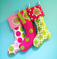 Items similar to Christmas Stockings Personalized, 3 pack christmas stockings, family stockings, matching stockings, modern stockings on Etsy First Christmas, Christmas Time, Holiday, Girl God, Personalized Stockings, Whimsical Christmas, Daughter Of God, Happy Colors, Xmas Decorations