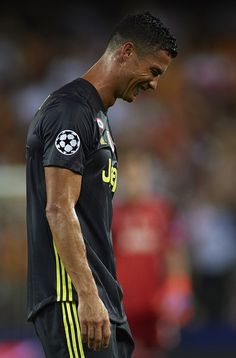 Cristano Ronaldo of Juventus reacts after his red card during the Group H match of the UEFA Champions League between Valencia and Juventus at Estadio Mestalla on September 2018 in Valencia, Spain. Cristiano Ronaldo, Ronaldo Juventus, Ronaldo Photos, Valencia Spain, September 19, Uefa Champions League, Balls, Group, Red