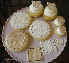 Monogrammed Cupcakes and Cookes...Great Idea for a Wedding Reception Dessert Bar