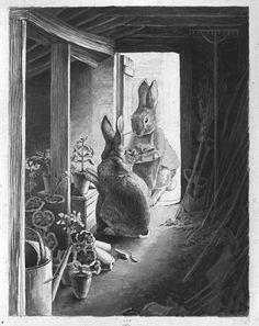 I've seen these original sketches in person. Blew me away. The Rabbits' Potting Shed by Beatrix Potter.