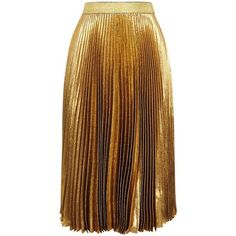 Christopher Kane Gold Pleated Lamé Midi Skirt - Size 6 ($990) ❤ liked on Polyvore featuring skirts, calf length skirts, mid-calf skirt, pleated midi skirt, midi skirt and brown pleated skirt