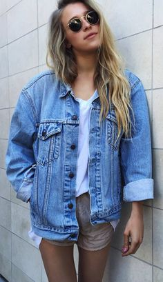 Oversized denim jacket with shorts | Summer outfits
