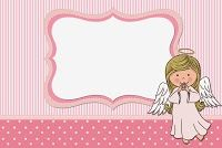 Angel Girl: Free Printable Invitations, Cards and Photo Frames.