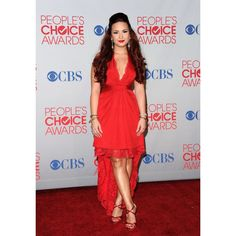Demi Lovato Red Mullet Custom Dress 2012 People's Choice Awards Red Carpet