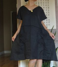 Running with lines pure linen slip dress, custom order fit up more. AnnySchooecoClothing on Etsy. Beautiful Outfits, Cool Outfits, Couture, Blouse Dress, Linen Dresses, Mode Inspiration, Plus Size Dresses, Short Sleeve Dresses, Pure Products