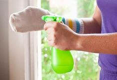 cleaning your window blinds. All you need is an old pair of socks (make sure they're clean, though), and some water with vinegar. Wear one sock like a glove on one hand, dip it in the water and vinegar mixture, and wipe off the dirt on the blinds. Use the other sock to dry it.  Image source: pinterest.com