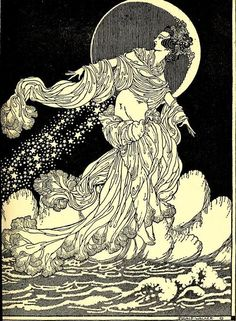 Rainbow gold: poems old and new selected for boys and girls, 1922  Illustrations Dugald Stewart Walker    That orbed maiden with white fire laden,    Whom mortals call the Moon,  Glides glimmering o'er my fleece-like floor,    By the midnight breezes strewn;