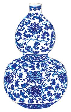 Blue and White China Ginger Jar Vase No. 2 by LauraRowStudio