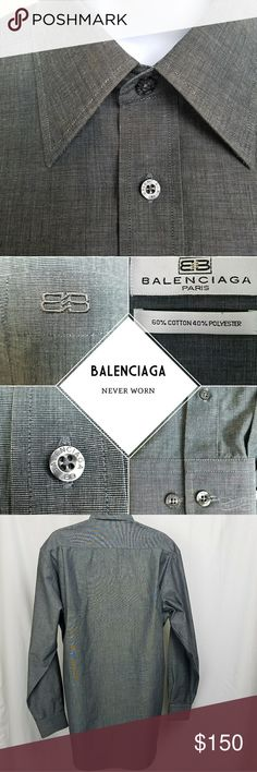 "Balenciaga shirt Well my husband finally did it. He left his clothes on the floor and now I'm selling this shirt!  Men's Balenciaga dress shirt  size 16 neck 34-35 medium dark pewter -gray  32"" long in back 24"" sleeves   and really looks awesome as a shirt dress for a woman.   He never wore it. He bought it tried it on, took it off and left on the floor. His carelessness is your gain.  The last photo is from the Balenciaga website for styling and $ ideas only. Balenciaga Shirts Dress Shirts"