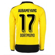 Günstige fußballtrikots BVB Borussia Dortmund 15-16 Aubameyang Heim Langarm Trikot