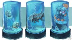pokemon concept art aquarium hoenn sapphire team aqua omanyte Relicanth huntail mantine oras alpha sapphire concept art i wish was real oh man i love drawing aquariums