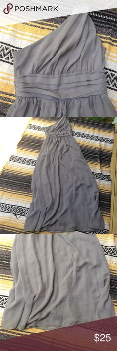 """One Shoulder Gray Grecian Dress Beautiful luminous grey chiffon one shoulder Grecian style dress. Perfect for wedding season this fall! Comfy and gorgeous. The shoulder has a cool latch detail. Empire waist. Side zipper. Tag says size 4. ☕️️ flat measurements ☕️️ bust: 14"""" // hip: free // length: 47"""" // Tevolio Dresses Maxi"""