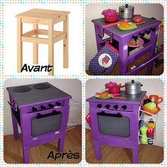 bykinanoe | Bien assis en cuisine / Projet DIY #2 : Comment détourner un vieux tabouret en cuisinière pour enfant / DIY Ikéa hackers Recyclage Récup upcycling stool in kids kitchen