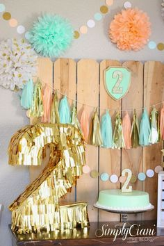 """like this, but birch trees and triangle garlands - mint peach gold birthday party. Stunning....love the fence backdrop and the gold fringe """"2"""""""