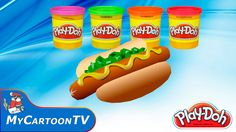 Play Doh create food American hotdog