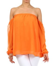 Look what I found on #zulily! Coral Off-Shoulder Blouse #zulilyfinds
