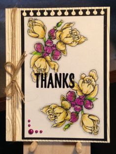 Thank You Card - Stamps:  Clearly Gina K. Stately Flowers 10, Stampin' Up Paper Pumpkin Bold Botanicals - Prismacolor Pencils:  1012, 942, 989, 912, 995, 140, 1063 - Inks:  Memento Tuxedo Black, Versafine Onyx Black - Ranger Clear Embossing Powder - May Arts Natural Twine - We R Memory Keepers Wood grain Embossing Folder - Viva Perlen-Pen Magenta - Paper:  Strathmore Colored Pencil Paper, The Paper Studio Heavy Weight Black