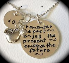 Remember the past - enjoy the present - embrace the future - TEACHER RETIREMENT gift -- Handstamped Necklace - Sterling Silver via Etsy