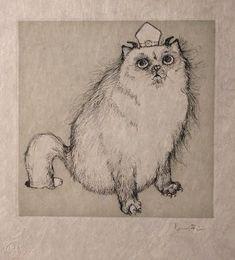 Les Etrangers 8 | by Leonor Fini Crazy Cat Lady, Crazy Cats, Gravure, Arrow Keys, Close Image, Book Illustration, Line Drawing, Cat Art, Les Oeuvres