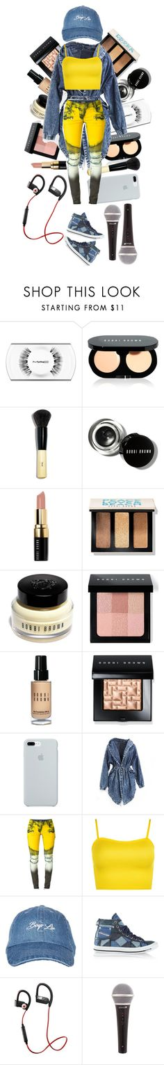 """JESSY at The 9/9 Perfomance."" by tialua ❤ liked on Polyvore featuring MAC Cosmetics, Bobbi Brown Cosmetics, ETUÍ, Balmain, WearAll, Topshop, Diesel, New Balance, yellow and jeans"
