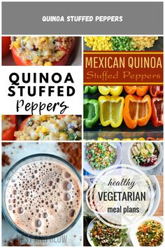 The whole family will go nuts for these Vegetarian Quinoa Stuffed Peppers! They are a great easy and healthy meal that won't compromise your diet! Healthy Vegetarian Meal Plan, Healthy Recipes, Stuffed Peppers Healthy, Mexican Quinoa, Atkins Diet, Meal Planning, Meals, Fruit, Ethnic Recipes