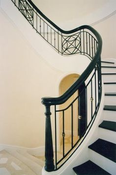 metal curved stair railing - Google Search