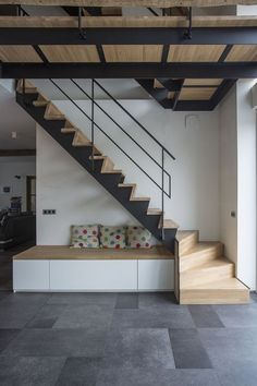 Ideas Stairs Design Metal Wooden Ideas Stairs Design Metal Wooden Staircases 44 chic indoor home staircase design ideas for your home 6 Wooden Staircase Design, Loft Staircase, Home Stairs Design, Wooden Staircases, Interior Stairs, House Stairs, Spiral Staircases, Stairs To Mezzanine Floor, Interior Architecture