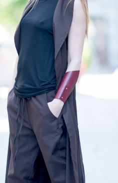 Genuine Leather Bracelet / ECO Leather / Leather Wrist Cuff / Black Extravagant Leather Bracelet by EUGfashion by EUGfashion on Etsy