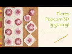 Crochet paso a paso: flores popcorn 3D... incluye diagrama para hacer un...