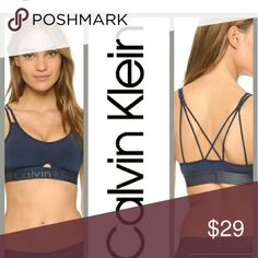 Calvin klein bralette Navy blue bralette Runs small says L but best fits a M  maybe a B cup perhaps a C cup Calvin Klein Intimates & Sleepwear Bras