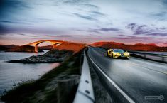 Beautiful scene with Ford GT - Atlantic Oceanroad Norway