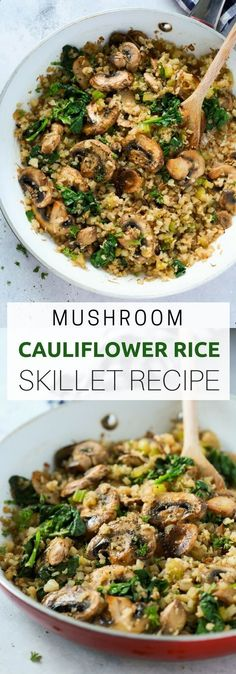 "This Mushroom Cauliflower ""Rice"" Skillet is a delicious low-carb and vegan/v. This Mushroom Cauliflower ""Rice"" Skillet is a delicious low-carb and vegan/vegetarian main dish for dinner. And it's done in only 20 minutes. Healthy Rice Recipes, Paleo Recipes, Whole Food Recipes, Cooking Recipes, Recipes Dinner, Low Carb Vegetarian Recipes, Lunch Recipes, Vegetarian Cauliflower Recipes, Skillet Recipes"