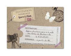 Carte invitation mariage Carnet de voyage et étiquettes (G-2509)