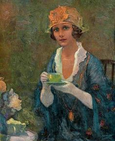 Arthur Litle / cover of The Delineator magazine August 1921 . depicts woman in gloves & hat drinking cup of tea Cuppa Tea, Tea Art, Turbans, My Tea, Vintage Tea, Drinking Tea, Sipping Tea, Beautiful Paintings, Female Art