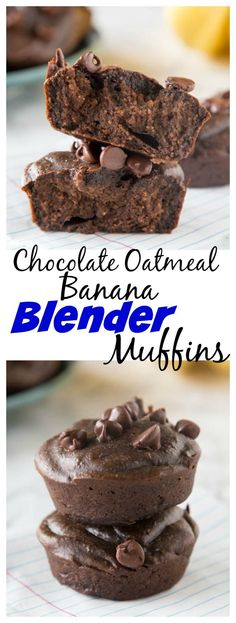 Chocolate Banana Oatmeal Blender Muffins – gluten free, healthy, muffins that . - Chocolate Banana Oatmeal Blender Muffins – gluten free, healthy, muffins that will get your day started right! Super quick and easy and the freezer well too! Muffins Sans Gluten, Dessert Sans Gluten, Gluten Free Desserts, Dessert Recipes, Chocolate Banana Muffins, Chocolate Oatmeal, Chocolate Chips, Muffins Sains, Healthy Baking