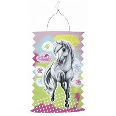 Paarden treklampion 30 cm. Deze treklampion heeft een afbeelding van een wit/grijs paard en gekleurde achtergrond. De lampion is ca. 30 cm hoog en gemaakt van papier.