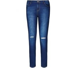 City Chic Ripped Knee Skinny Jean ($89) ❤ liked on Polyvore featuring plus size women's fashion, plus size clothing, plus size jeans, jeans, distressed skinny jeans, stretch skinny jeans, distressed denim jeans, destroyed jeans and skinny leg jeans