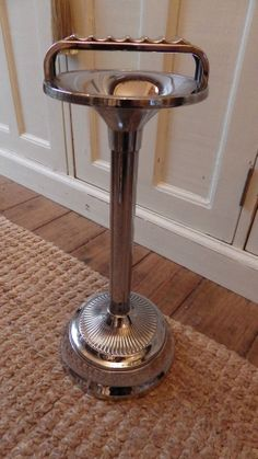 1950s RETRO Chrome Standing Ashtray ART DECO