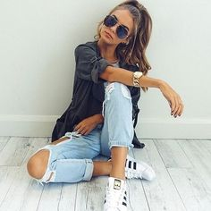 Belleza Cool Casual Moda Fashion Beautiful Girl Addidas Jean