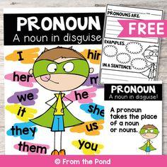 First Grade Teachers, First Grade Classroom, Future Classroom, Classroom Ideas, Teaching Pronouns, Pronoun Activities, Anchor Charts First Grade, Kindergarten Anchor Charts, 2nd Grade Ela