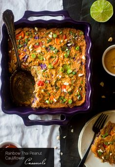Rainbow Thai Peanut Chicken Cauliflower Casserole - This healthy casserole has the taste of Thai peanut sauce, chicken and lots of fresh veggies! It's a low carb and gluten free weeknight meal that's only 220 calories and 5 SmartPoints! | Foodfaithfitness.com | @FoodFaithFit